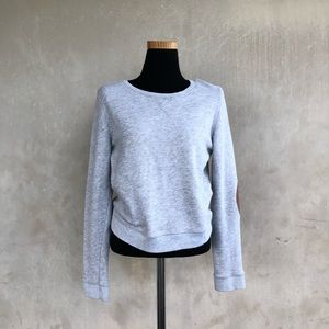 [BDG] soft knit elbow patch pullover sweater